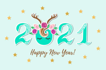 Vector Illustration 2021 with Deer Tiara and eyes as Happy New Year postcard, party invitation, postcard motive, Merry Christmas card.