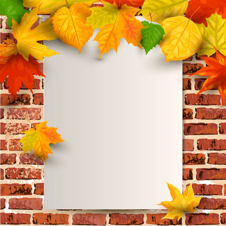 Autumn background with falling leaves on brick wall background with paper sheet. Place for text. Great for sale, party invitation, web, fall festival, Happy Thanksgiving day. Vector illustration.