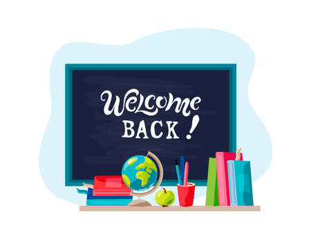 Welcome back with books, globe, apple. Welcome Back handwriting lettering. Place for text. Vector illustration.