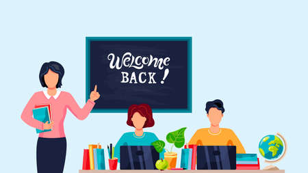 Female teacher and students is studing on computer. Welcome back hand drawn lettering. Place for text. Flat cartoon style design vector illustration. Ilustrace