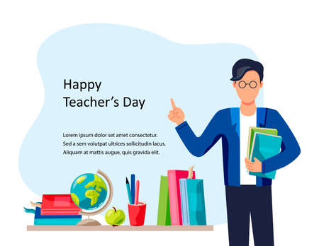 Happy Teacher's day. Smiling male teacher with books. Place for text. Vector illustration. Flat cartoon style design. Ilustrace