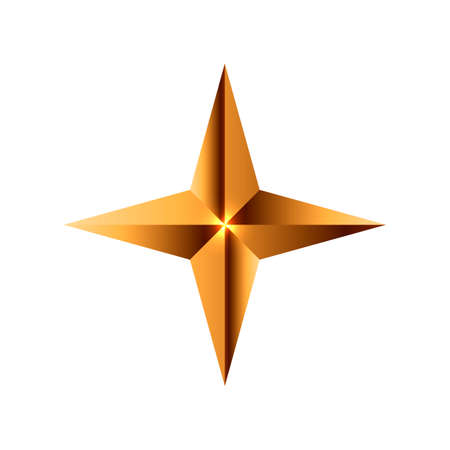 Realistic golden star. Christmas star icon. Design element for holiday. Vector illustration isolated on white background.