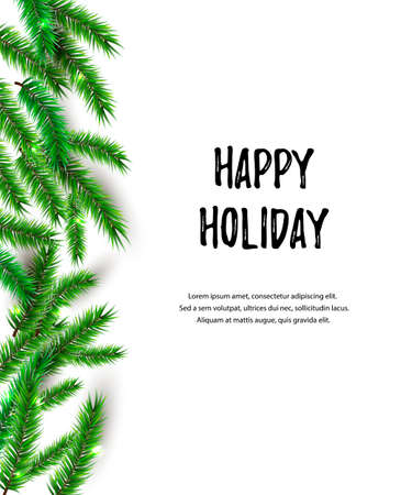Holiday background with christmas tree. Place for text. Great for greetings, party invitation, New year, Merry Christmas cards, banner, poster.