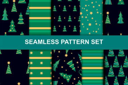 Seamlees patterns with christmas trees, stars and stripes for Merry Christmas and Happy New Year holidays. Vector illustration set.