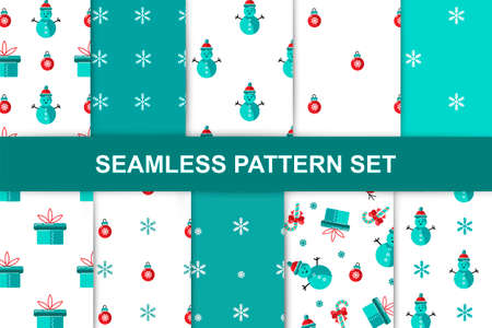Seamlees patterns set with snowman, gift box, candy cane for Merry Christmas and Happy New Year. Vector illustration.