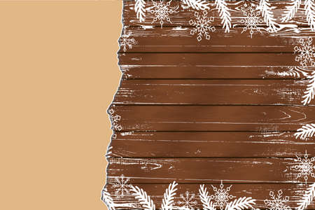 Winter background with snowflakes on dark wooden background with paper sheet. Place for text. Great for Merry Christmas and New Year, invitation, winter sale. Vector illustration.