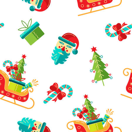 Seamlees pattern with Santa, gift box, candy cane, santa sleigh for Merry Christmas and Happy New Year. Vector illustration.