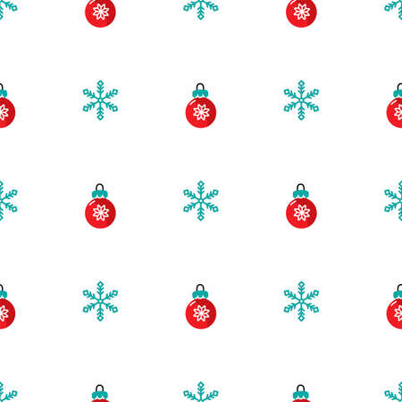 Seamless pattern with snowflakes and christmas decorations. Vector illustration.
