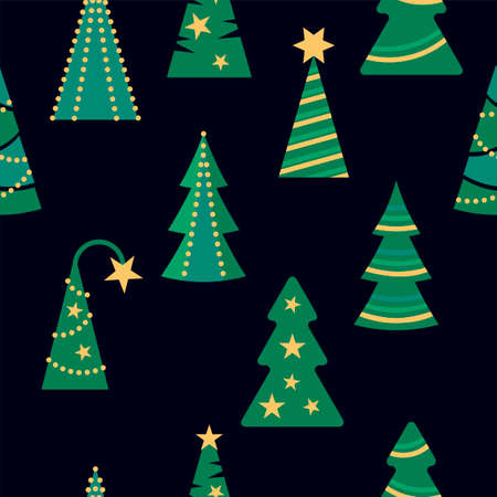 Seamlees pattern with christmas tree for Merry Christmas and Happy New Year holidays. Vector illustration. Ilustrace