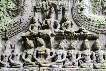 carved stone: Carved stone on Lintel of stone castle in Cambodia