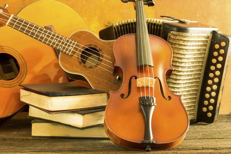 stradivarius: Old acoustic music instrument on stii life style
