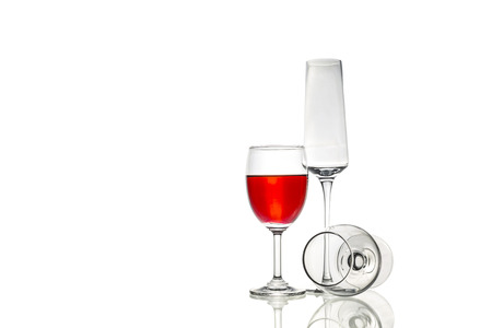 whisky glass: Wineglass,flute champagne glass and whisky glass in white background.