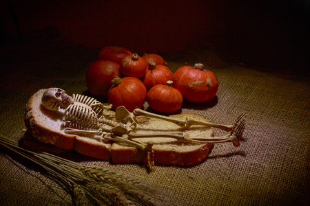 The skull lied in bread near red pumkins on sackcloth.