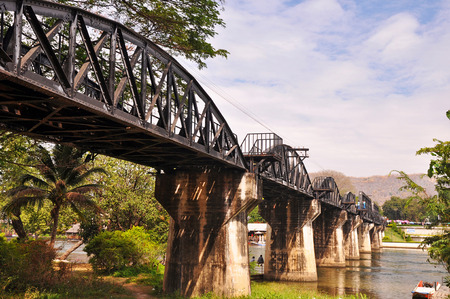infamous: The Bridge on the River Kwai, Kanchanaburi, Thailand. The bridge was part of the infamous Death Railway built in 1942-43 by prisoners of war and  local peasant labour under Japanese occupation.