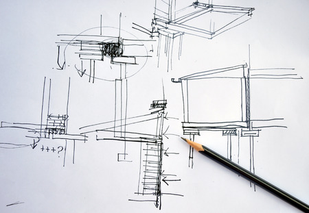 designing: draft hand drawing foundation architecture plan with black pencil