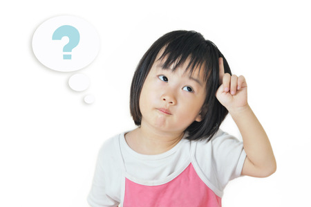 asian small child in a thoughtful expression with question mark symbol in cloud bubble photo