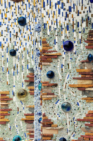 colorful mosaic and classical ceramic broken tile wall background photo