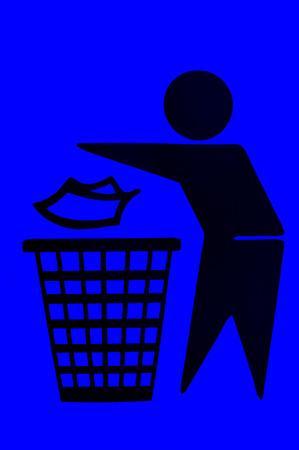 botar basura: No hay se�ales de tirar basura papelera Foto de archivo