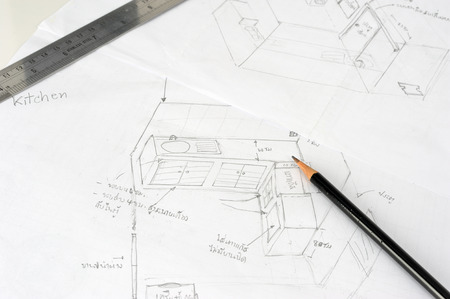 kitchen detail: Hand drawn sketch of the kitchen with pencil
