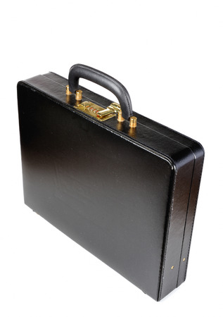 leather briefcase: black leather Briefcase with combination lock on white background Stock Photo