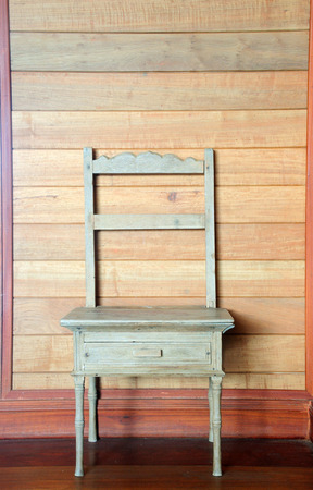 antique chair: antique wood chair against wooden wall