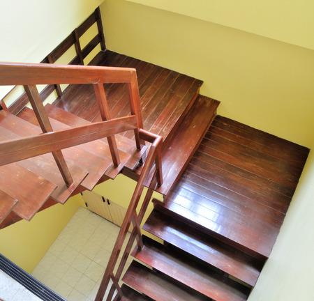 second floor: wooden brown stair to second floor Stock Photo