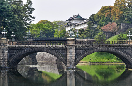 Tokyo Imperial Palace and Nijubashi bridge, Japan Stock Photo