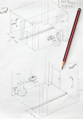 hand drawn of bathroom draft sketch and pencil photo