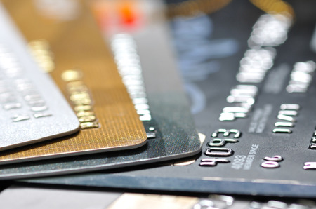 electronic banking: pack of credit cards in most shallow focus, selective focus