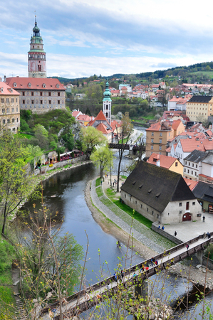 Panoramic view of the historic city of Cesky Krumlov with Vltava  river, Czech Republic. Stock Photo
