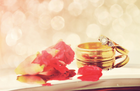 Close up romantic wedding ring with celebration background