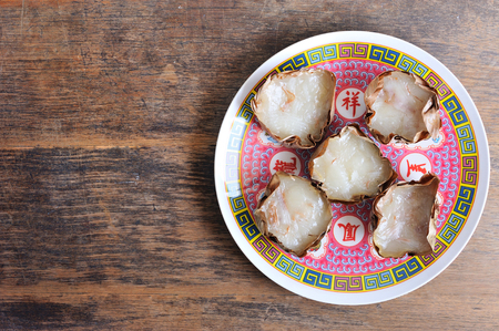 Nian Gao, New Year Sweet Rice Cake is a welcome sight during Chinese New Year, top view.