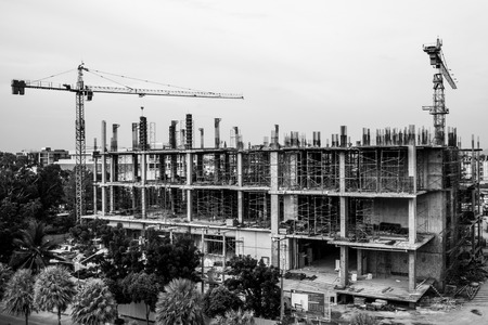 tower crane: build a building with tower crane Stock Photo