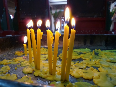 chiness: Candle light in chiness temple Stock Photo
