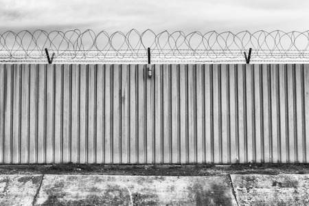prison guard: Barbed fence for authorized and protect have one lamp