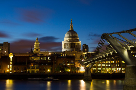 millennium: Night at Millennium Bridge and St.Paul Cathedral Stock Photo