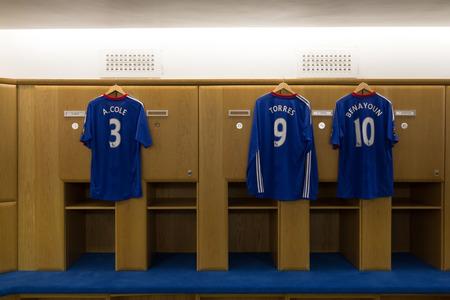 chelsea: Chelsea Football Club London, UK : Chelsea Football Club Jul 5, 2011. Visit to Chelsea Football Club in changing room, locker room