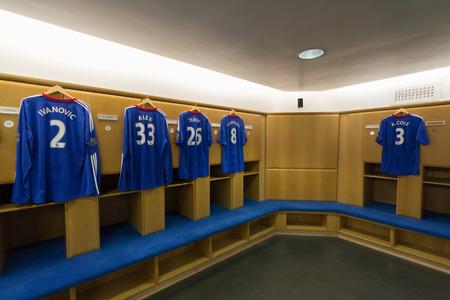 changing room: Chelsea Football Club London, UK : Chelsea Football Club Jul 5, 2011. Visit to Chelsea Football Club in changing room, locker room