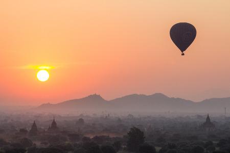 sun rise: Sun rise at Bagan Myanmar Stock Photo