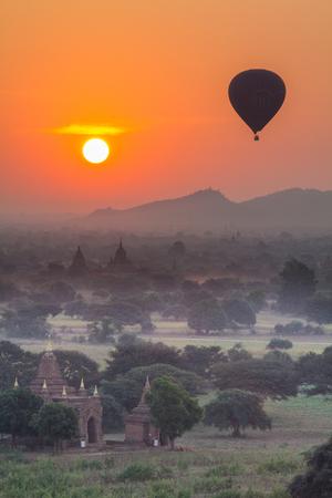 bagan: Sun rise at Bagan Myanmar Stock Photo