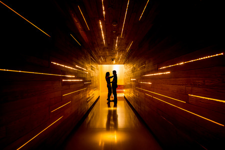 shadow man: Shadow of love at end of tunnel Stock Photo