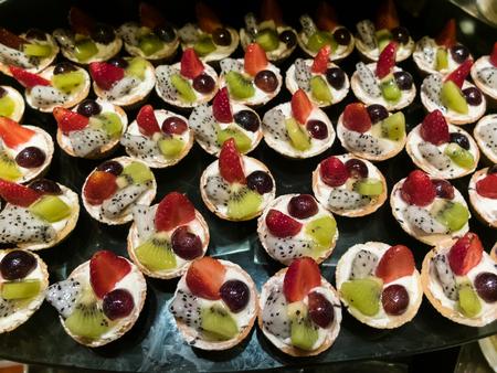 fruit tart: Buffet food and dessert, Fruit tart Stock Photo