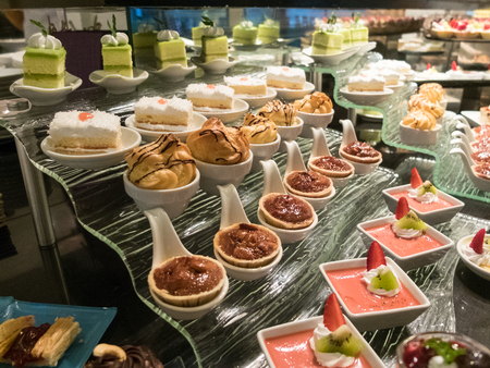 Buffet food and dessert