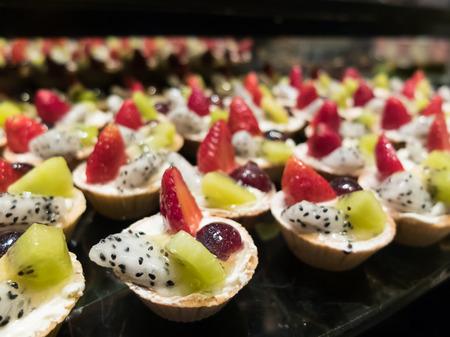 Buffet food and dessert, Fruit tart Stok Fotoğraf
