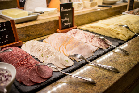 food counter have Salami, Ham, bologna ham and cheese