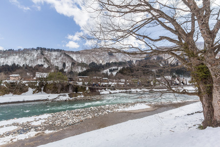 Historic Villages of Shirakawa-go and Shokawa River Stok Fotoğraf