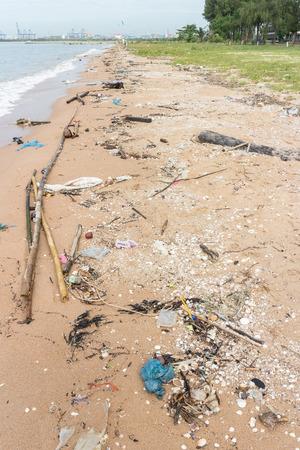 hazardous waste: Dirty Beach Stock Photo