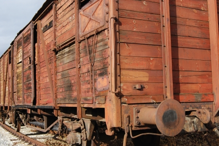 Old freight railway wagon,wooden sides photo