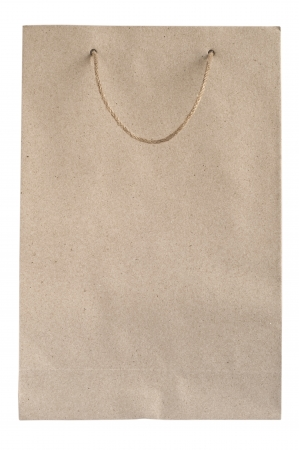 Recycled paper bag with hemp rope handles isolated on white background Stock Photo - 20895726