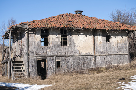 outbuilding: Old abandoned outbuilding for rearing animals in mountain